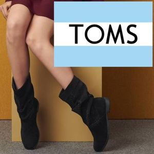 Toms Serra Perforated Slouch Boot 9.5 Black